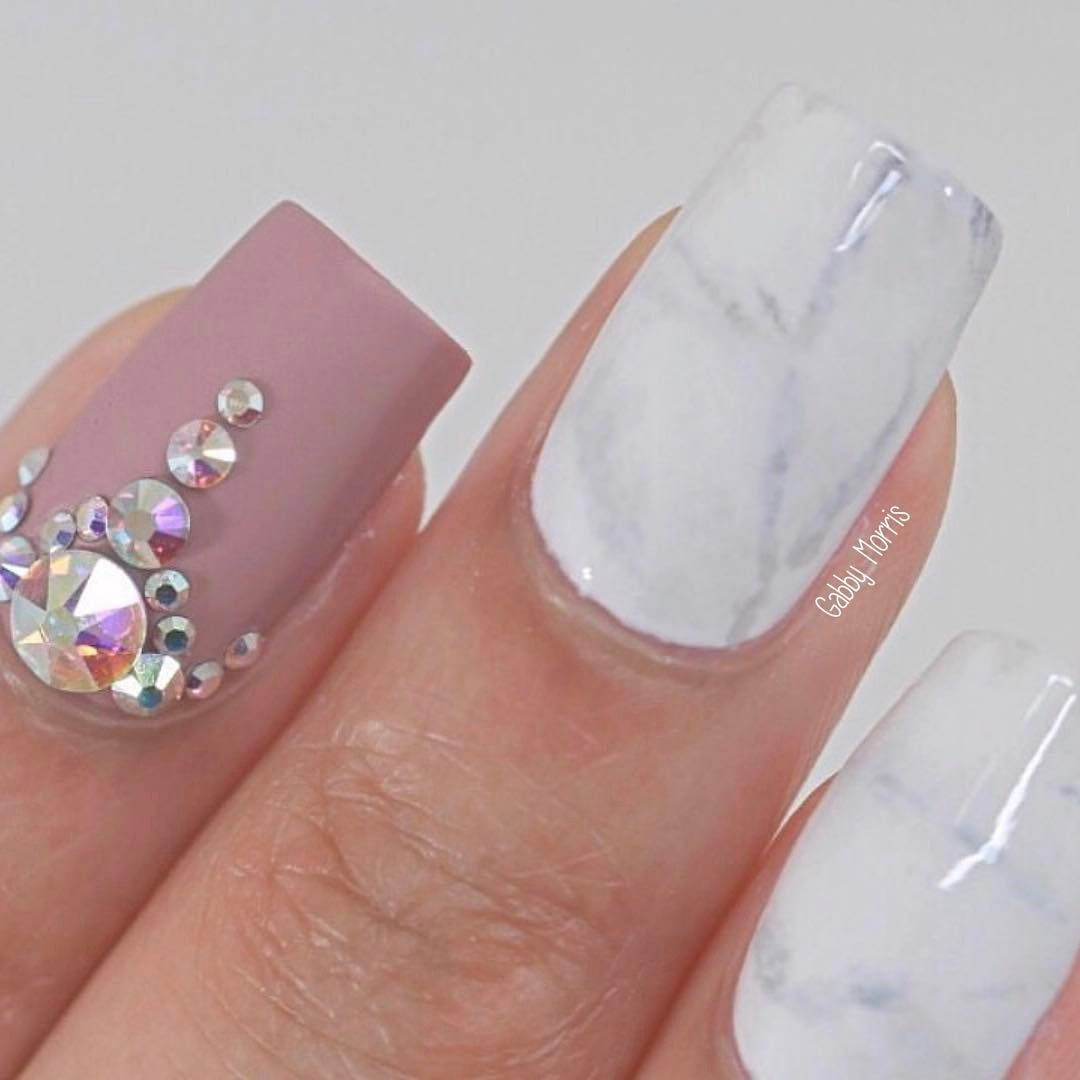So I tried white marble nails again and I seriously love how they ...