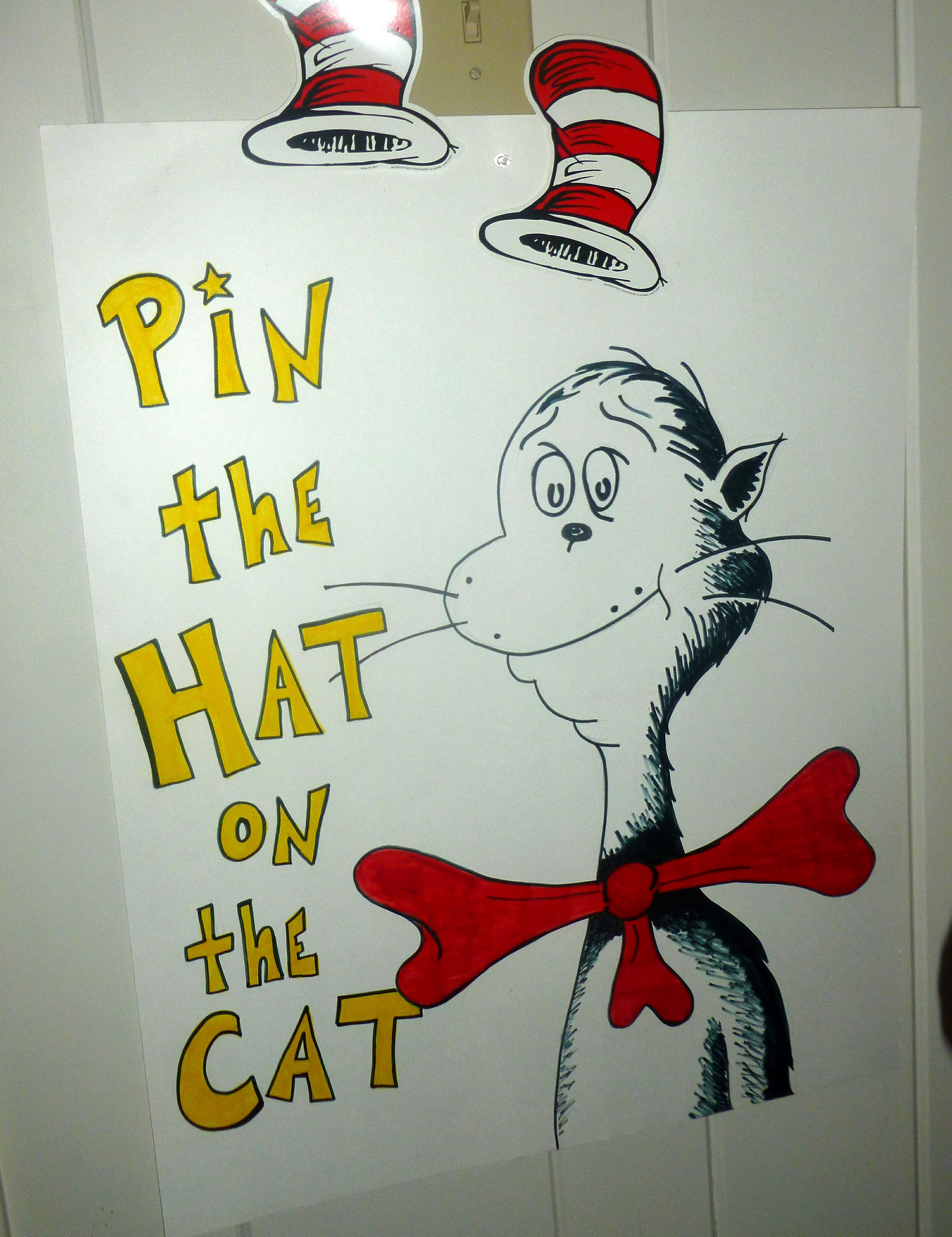 Pin the hat on the cat game | My Creations | Dr seuss