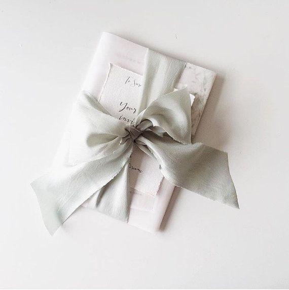 Silvery sage ribbon, 6 yards hand-dyed pale eucalyptus green silk habotai ribbon, bouquet ribbon, bridal bouquet silk ribbon, wedding