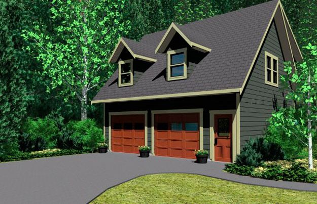 2 car garage with an enclosed stair to second floor for Garage apartment plans with kitchen