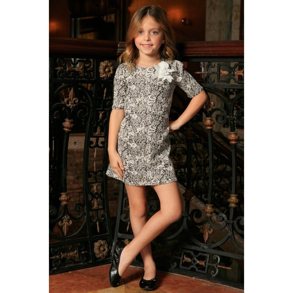 76bfc1aa21 Black White Stretchy Elbow Sleeve Shift Cute Fall Dress - Girls ...