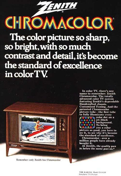 Zenith Chromacolor TV, 1970s   Retro   Vintage tv, Retro advertising