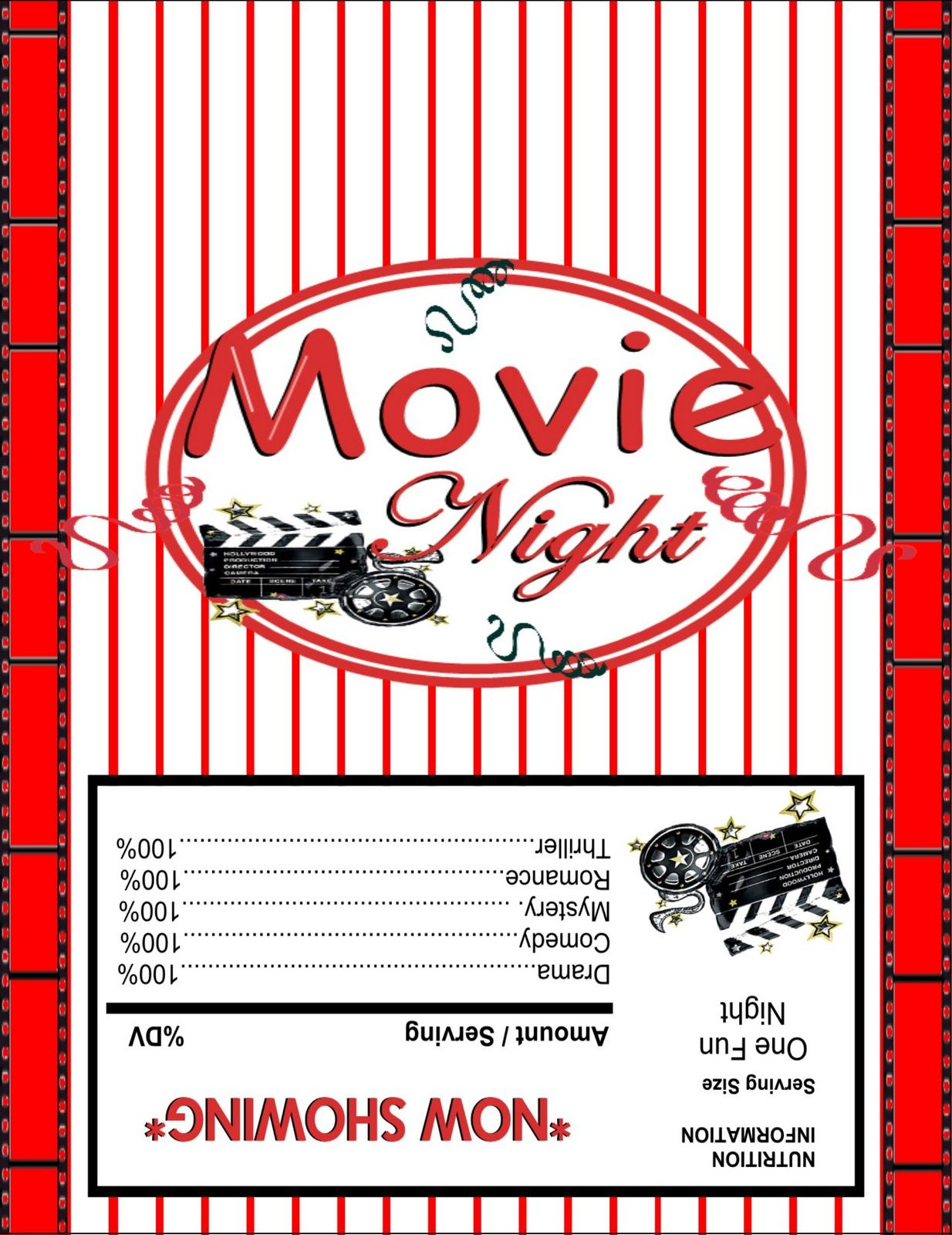 movie night printables for drinks candy etc diy outdoor