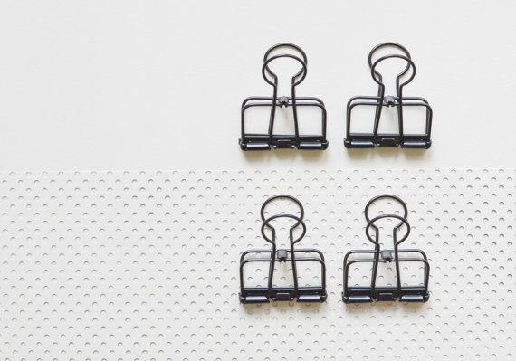 6 Black Bulldog Wire Clips, Foldback Clips, Metal Clips