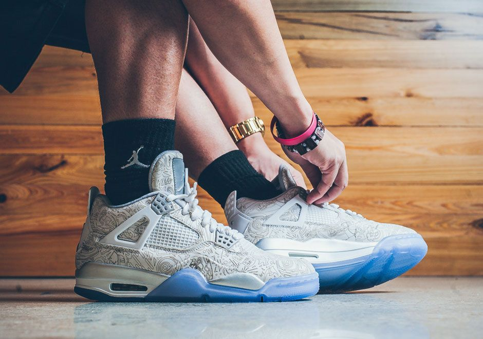 An On Foot Look At The Air Jordan 4 Laser With Images Air