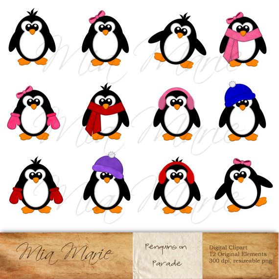INSTANT DOWNLOAD - Digital Clip Art, Penguin Clipart, Penguin Clip ...