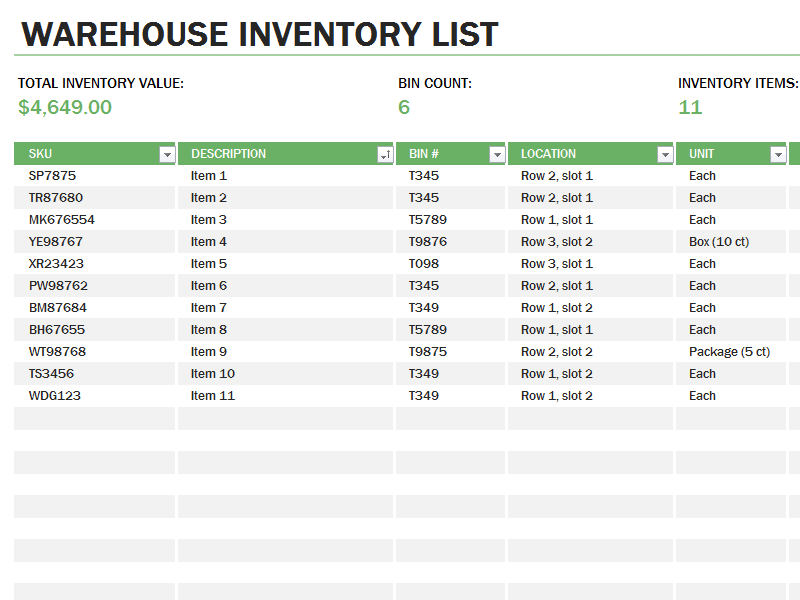 Free Download Warehouse Inventory Excel Spreadsheet Sample ...