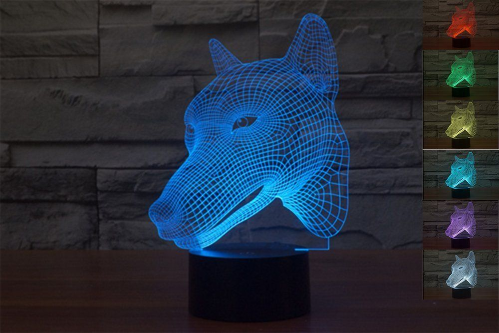 Lionking Usa New Year Sale New Dog Head 3d Optical Illusion Multi Colored Change Touch Botton Table Light Nursery Night Light Light Table 3d Optical Illusions