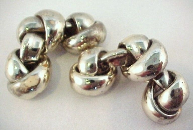 Vtg 1930s 3 Knot Silver Tone Plated Celluloid Shoe Clips