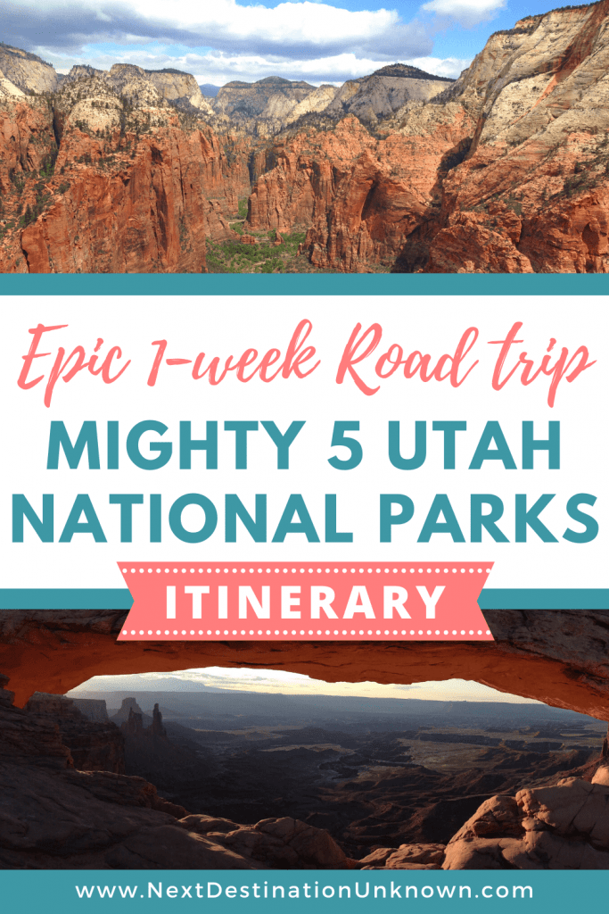 If you haven't been to the Mighty 5 Utah National Parks yet, add them to your bucket list and start planning to visit each of them with this epic 1-week Utah National Parks road trip itinerary! Take in the sights while hiking the Utah National Parks trails and explore the scenic American Southwest on this Utah road trip. Plus, get your FREE USA National Parks Checklist here! #utah #utahtravel #utahroadtrip #utahnationalparks #utahnationalparksroadtrip #utahnationalparkshiking