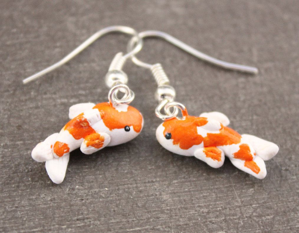 Koi fish earrings by debra marie polymer clay ideas for Clay koi fish