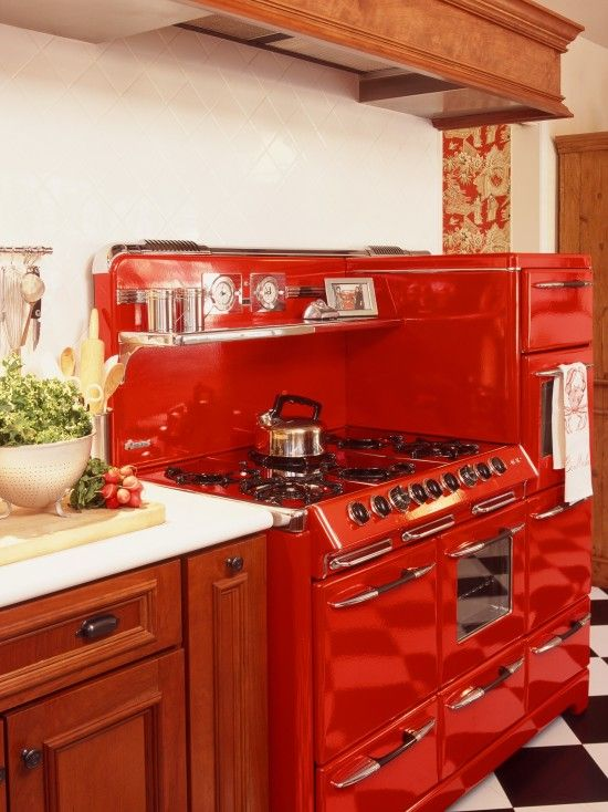 Red Kitchen Appliances Laminate Table Retro With Checkboard Flooring When I M Rich Will