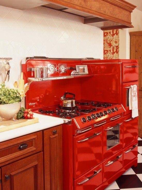 Retro Red Kitchen With Checkboard Flooring Retro Kitchen