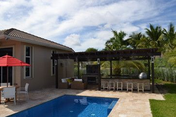 Outdoor Kitchen And Pergola Project Mediterranean Patio Miami Luxapatio Outdoor Pergola Outdoor Kitchen
