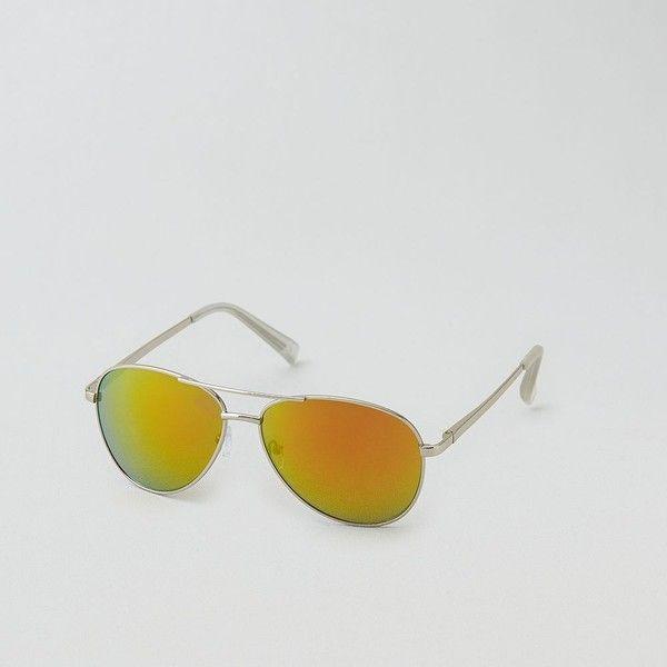 AE Aviator Sunglasses ($16) ❤ liked on Polyvore featuring accessories, eyewear, sunglasses, metallic, lens glasses, metallic glasses, american eagle outfitters sunglasses, silver glasses and uv protection sunglasses