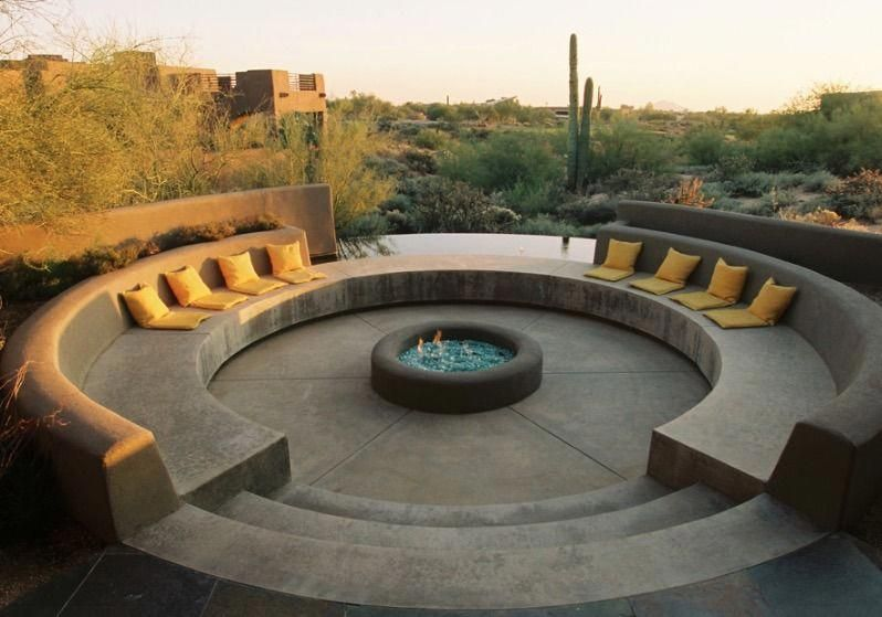 Outdoor Yellow Throws With Concrete Bench Also Circular Recessed Patio Circular Fire Pit And Concr Fire Pit Seating Fire Pit Backyard Outdoor Fire Pit Designs
