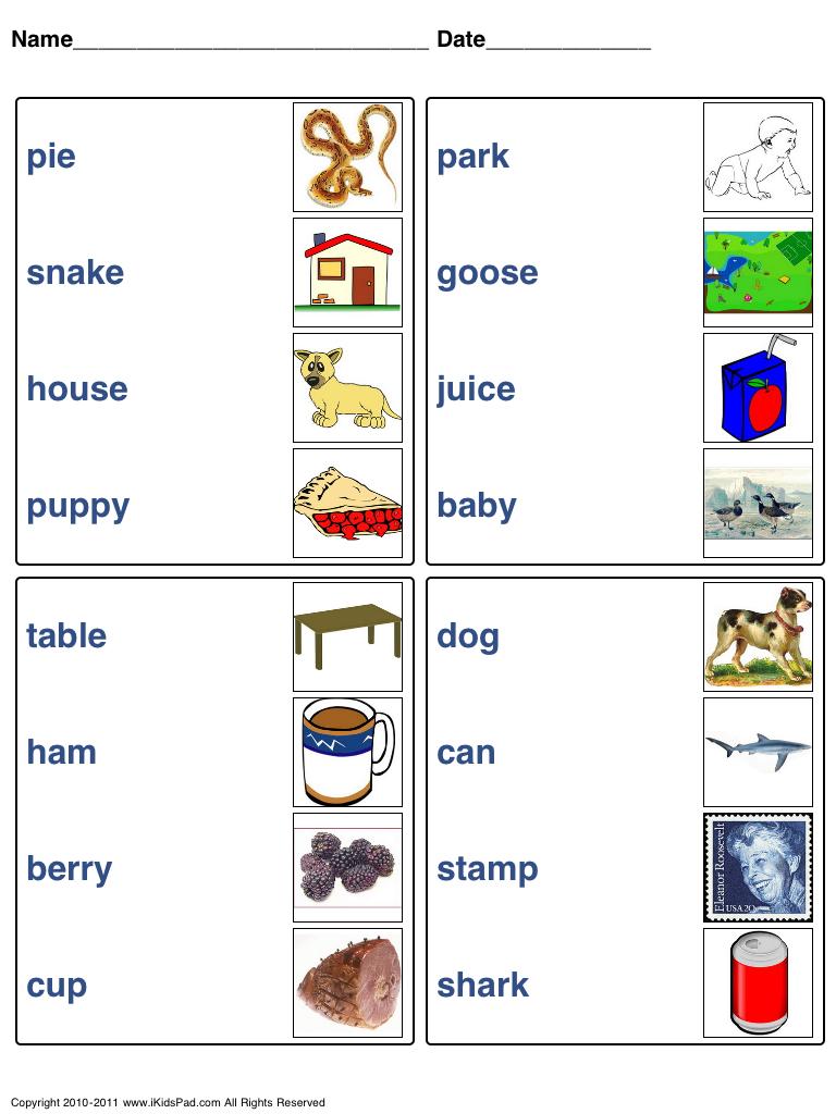 Free Printable Kids Word Matching Games Fun Worksheets For Kids Printables Kids Fun Worksheets [ 1024 x 768 Pixel ]