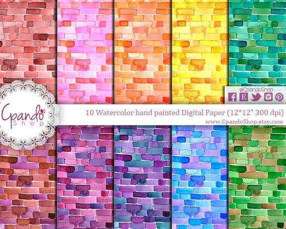 Watercolor rectangle, watercolor bricks, bricks pa