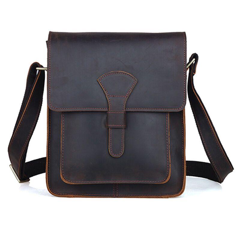 Mens Messenger Laptop Bag Crazy Horse Rustic Genuine Leather Bag