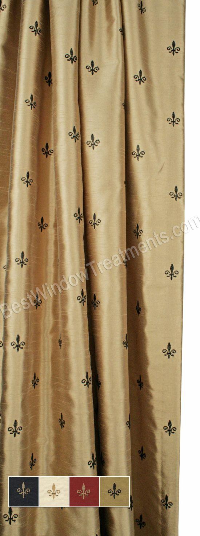 Custom Fleur De Lis Curtain Panel Lined Curtains Tuscan