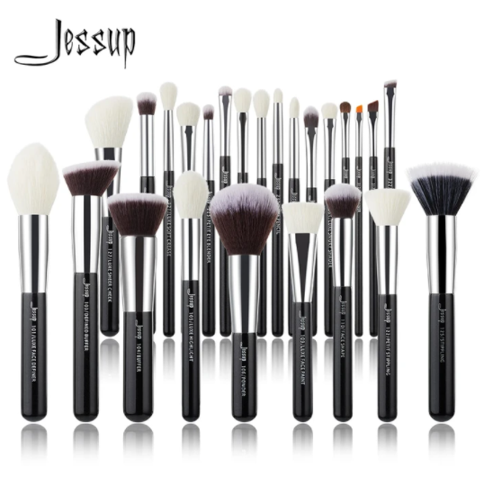 Photo of Jessup Makeup brushes set Black/Silver Professional with Natural Hair Foundation Powder Eyeshadow