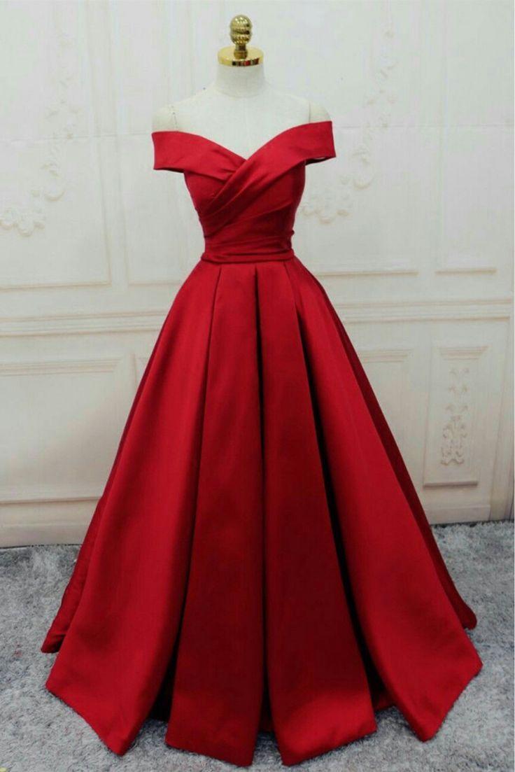 Popular red satin off shoulder prom dresses prom party dresses
