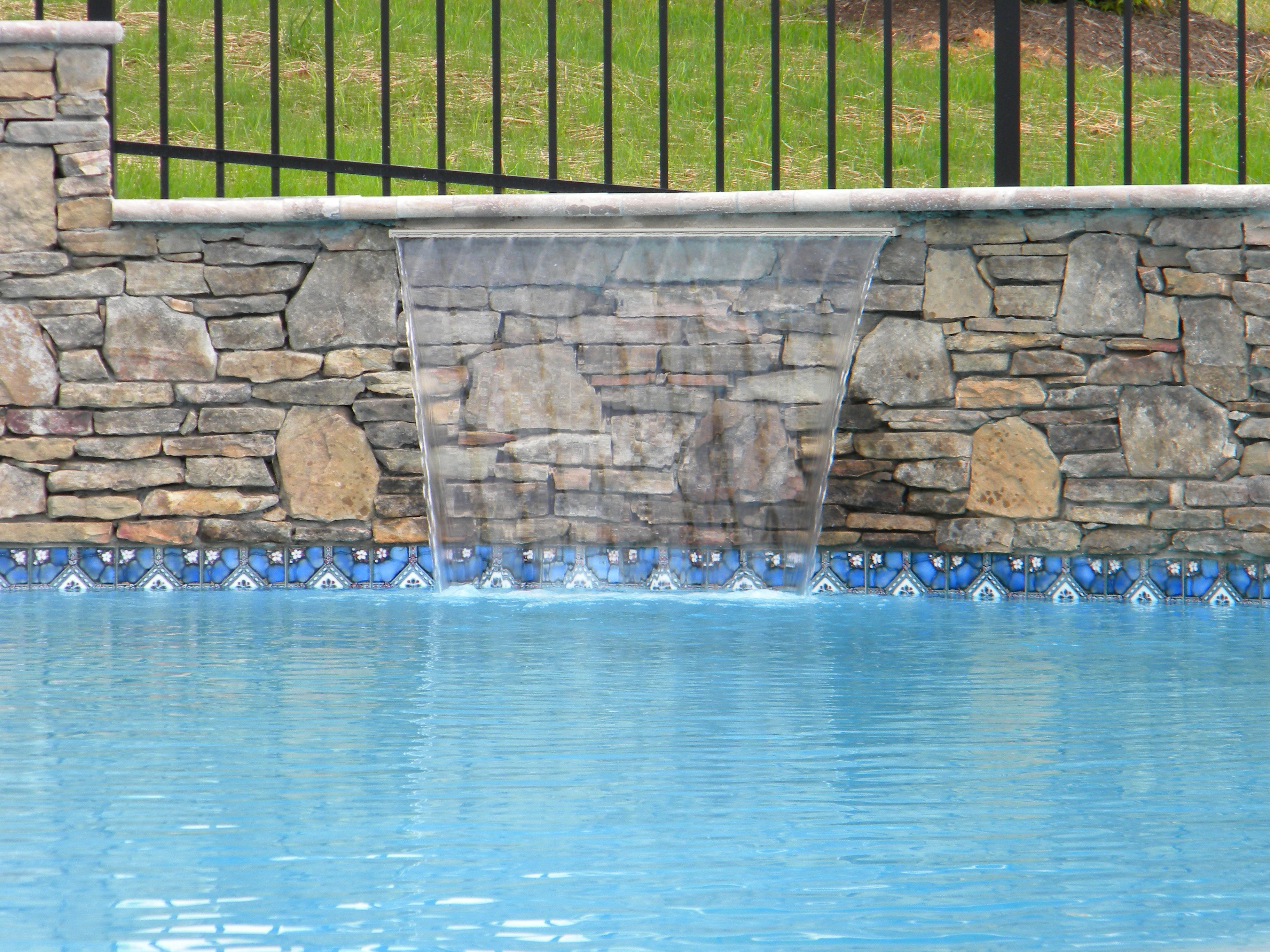 Sheer Descent Waterfall Into Swimming Pool Water Features Pinterest Pool Waterfall