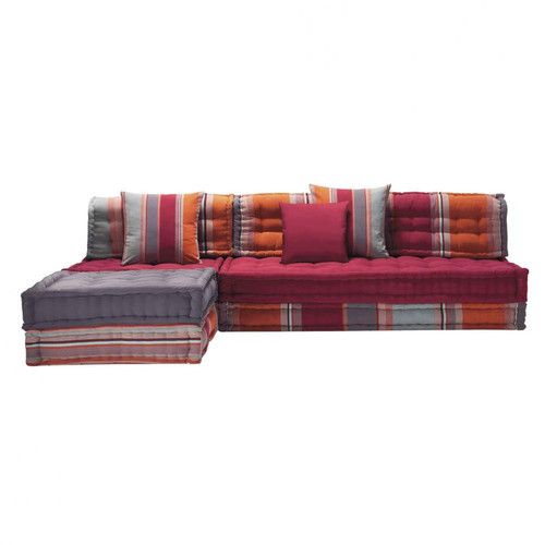 6 seater cotton corner day bed multicoloured banquette. Black Bedroom Furniture Sets. Home Design Ideas
