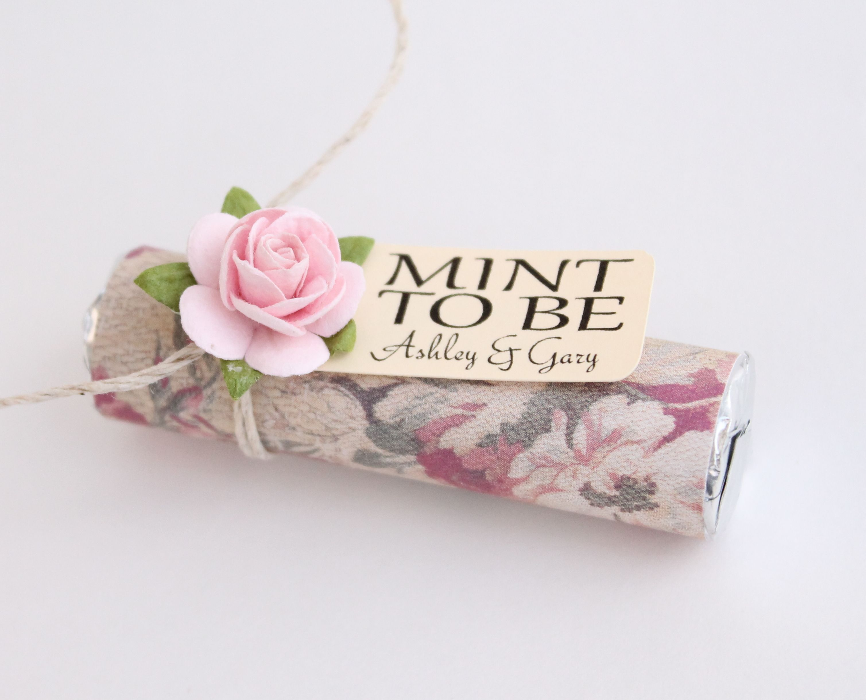 Custom mint wedding favors. Blush pink, floral, favor, pale pink ...