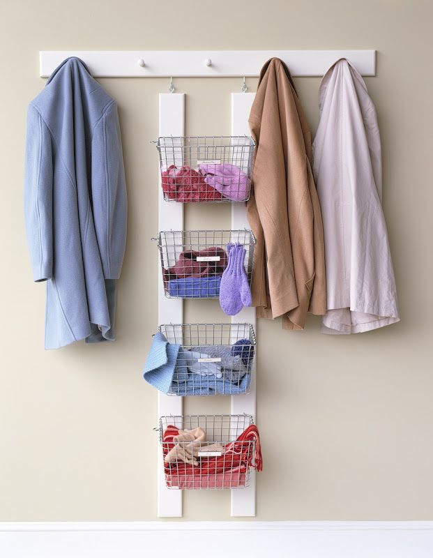 USE SOME KIND OF STACK OF BASKETS IN CLOSET FOR STORAGE. Winter  GearEntryway IdeasEntryway ...