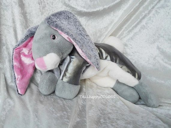 SILVER #Rabbit Gray in #SPACESUIT, Gray Bunny Decor luxury soft toy bunny stuffed animal, cuddly rabbit decor, unique #handmade #floppy #bunny more bunnies http://etsy.me/1ZqK2eZ