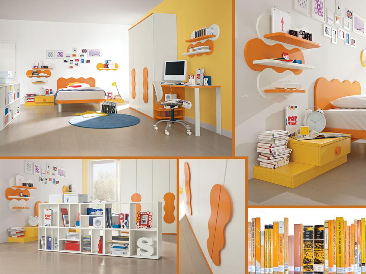Cameretta arancione e rossa: mobili camera da letto colorati ...