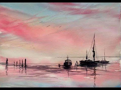 Paint a loose Watercolour Sunset Seascape, Simple