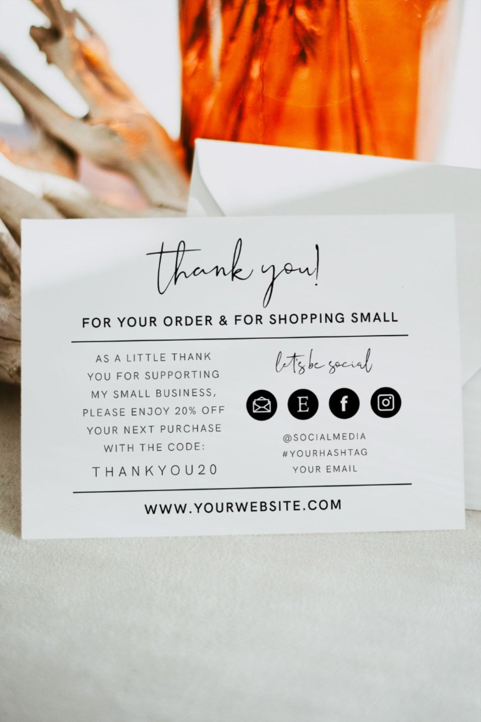 Emma Small Business Thank You Template Editable Small Business Thank You Card Small Business Thank You Card Template Editable Business Business Thank You Cards Business Thank You Small Business Cards