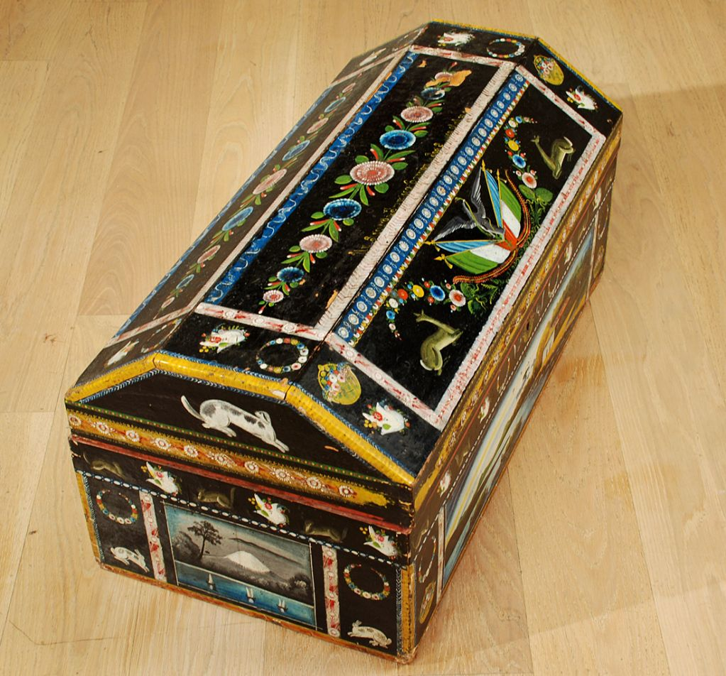 Antique Mexican Hand Painted And Lacquered Baul Olinala