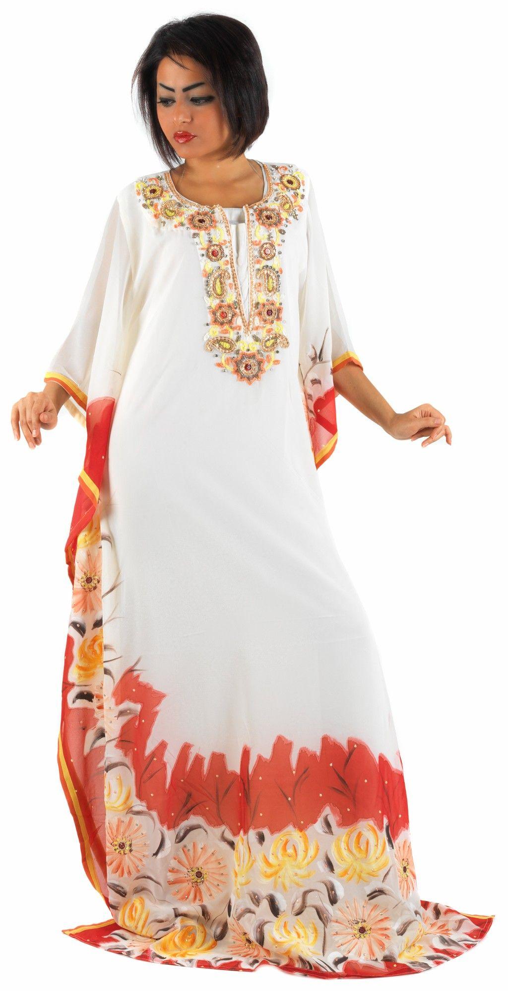 Aljalabiya.com: Chiffon jalabiya with hand embroidery and drawing on the piece, $210.00