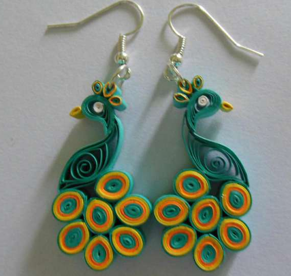Multi color paper quilling peacock earring designs 2015 for Paper quilling designs