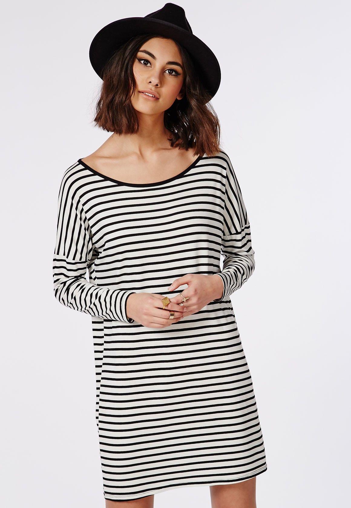 Long Sleeve Oversized T-Shirt Dress Monochrome Stripe - Dresses - T-Shirt Dresses - Missguided