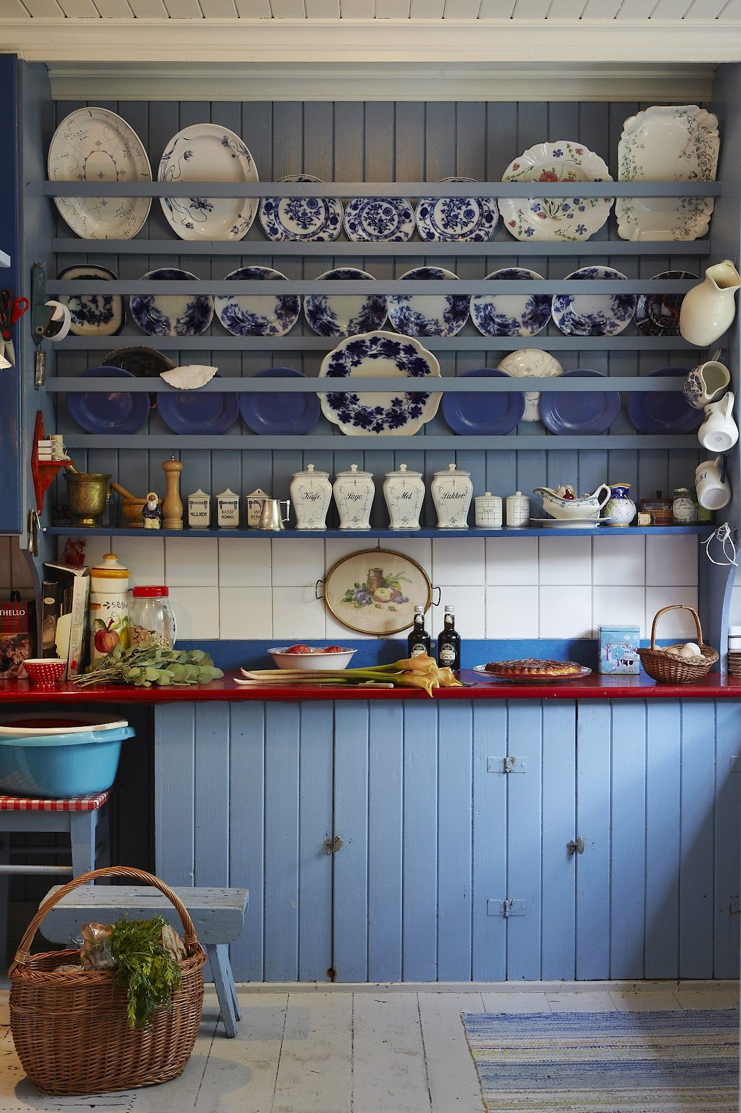 blue cottage kitchen | Cottage Style | Pinterest | Plate racks, Blue ...