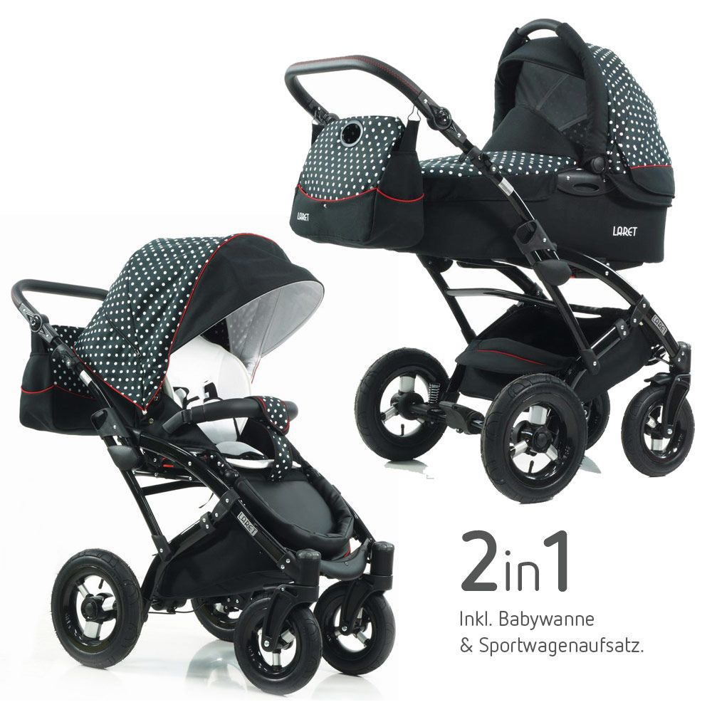 mit coolen polka dots kombikinderwagen voletto von knorr baby tupfen limited edition schwarz. Black Bedroom Furniture Sets. Home Design Ideas