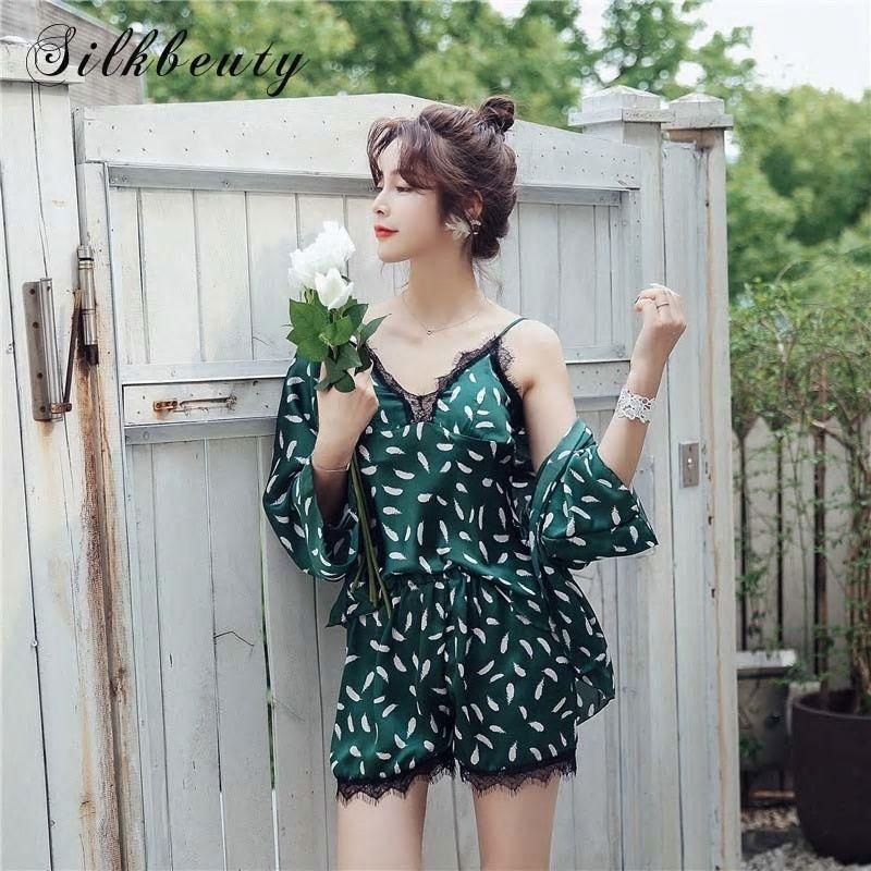 e248762d66 SILKBEUTY Pajamas Women s Lace Silk Stain Tank PijamaTops+Short+ Bathrobe  3Pcs Summer Sleepwear Long Sleeve Pajama Suit