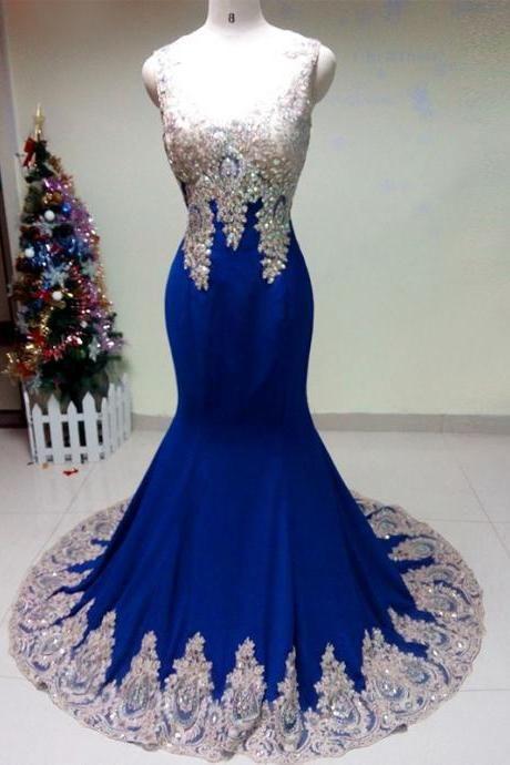 d1d4c2283ba Royal Blue Mermaid Prom Dresses Sexy See Through Back Rhinestones Beaded  Applique vestidos de fiesta 2016 Long Tight Evening Party Dresses CS647