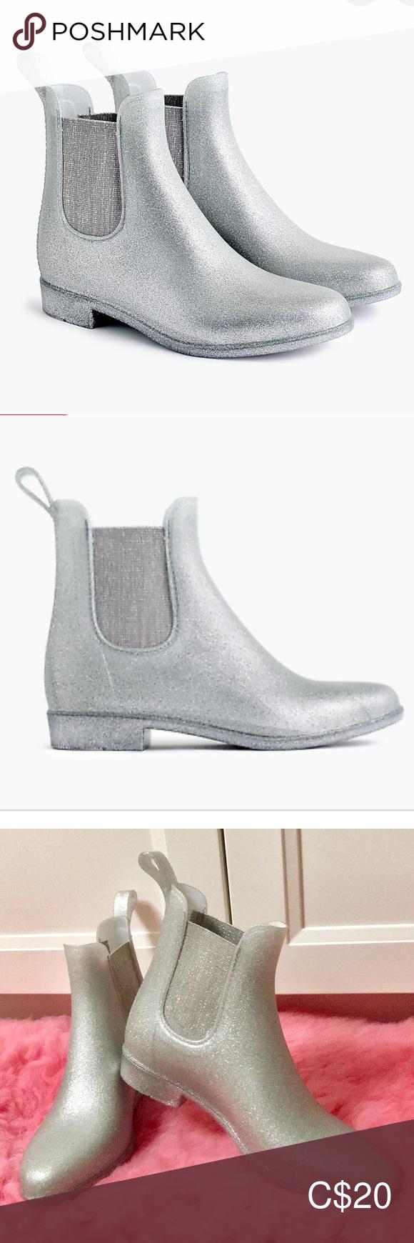 J Crew Glitter Chelsea rain boots