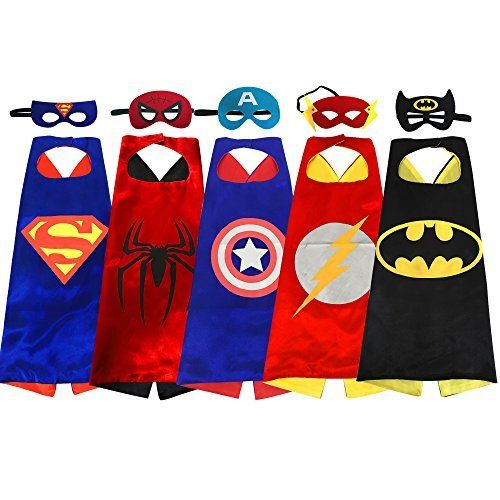 Superhero cape and mask costumes for kids set capes masks stickers and tattoos
