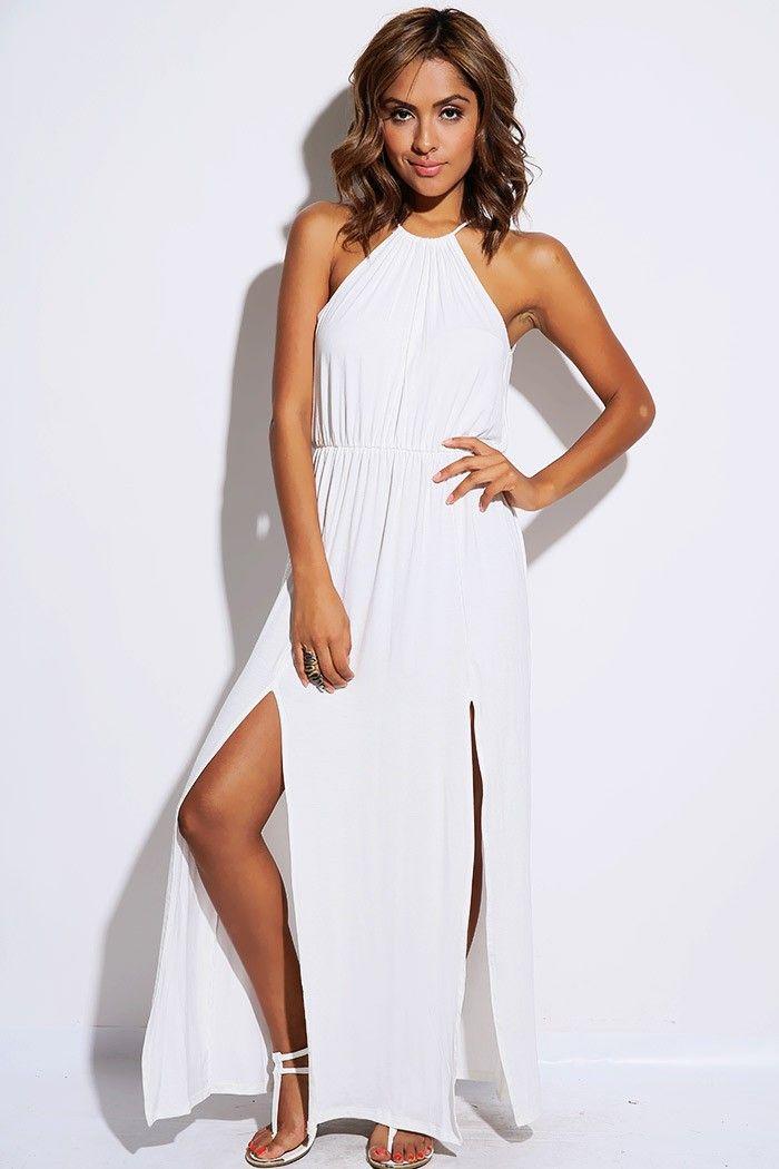 White High Neck Dresses with Split