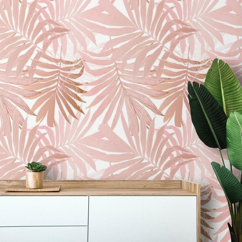 Removable Wallpaper Palm Leaves Peel And Stick Wallpaper Blush Etsy Peel And Stick Wallpaper Removable Wallpaper Tropical Wallpaper