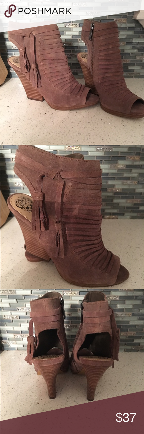 Vince Camuto Wedge booties Never worn Vince Camuto wedge booties! Vince Camuto Shoes Wedges