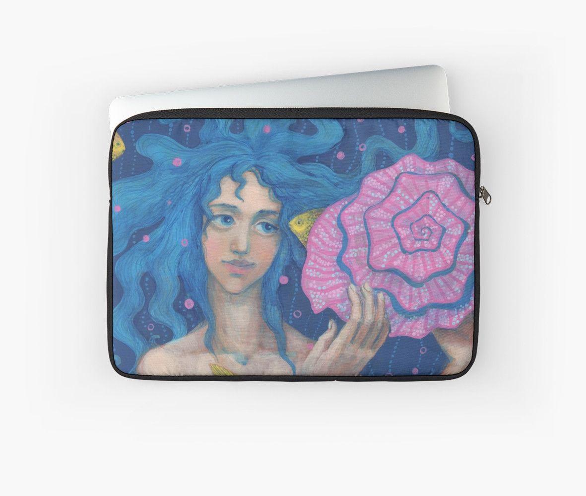 """""""Little Mermaid, Underwater Fantasy Art, Pink & Blue"""" Laptop Sleeves by…"""