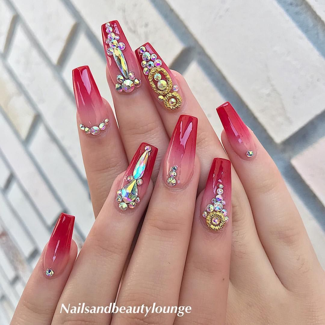 Red Ombre Nails By Ann For Prom Party Anndaonails Nailsandbeautylounge Brandon Glitter Red Ombre Nails Nails Design With Rhinestones Glue On Nails