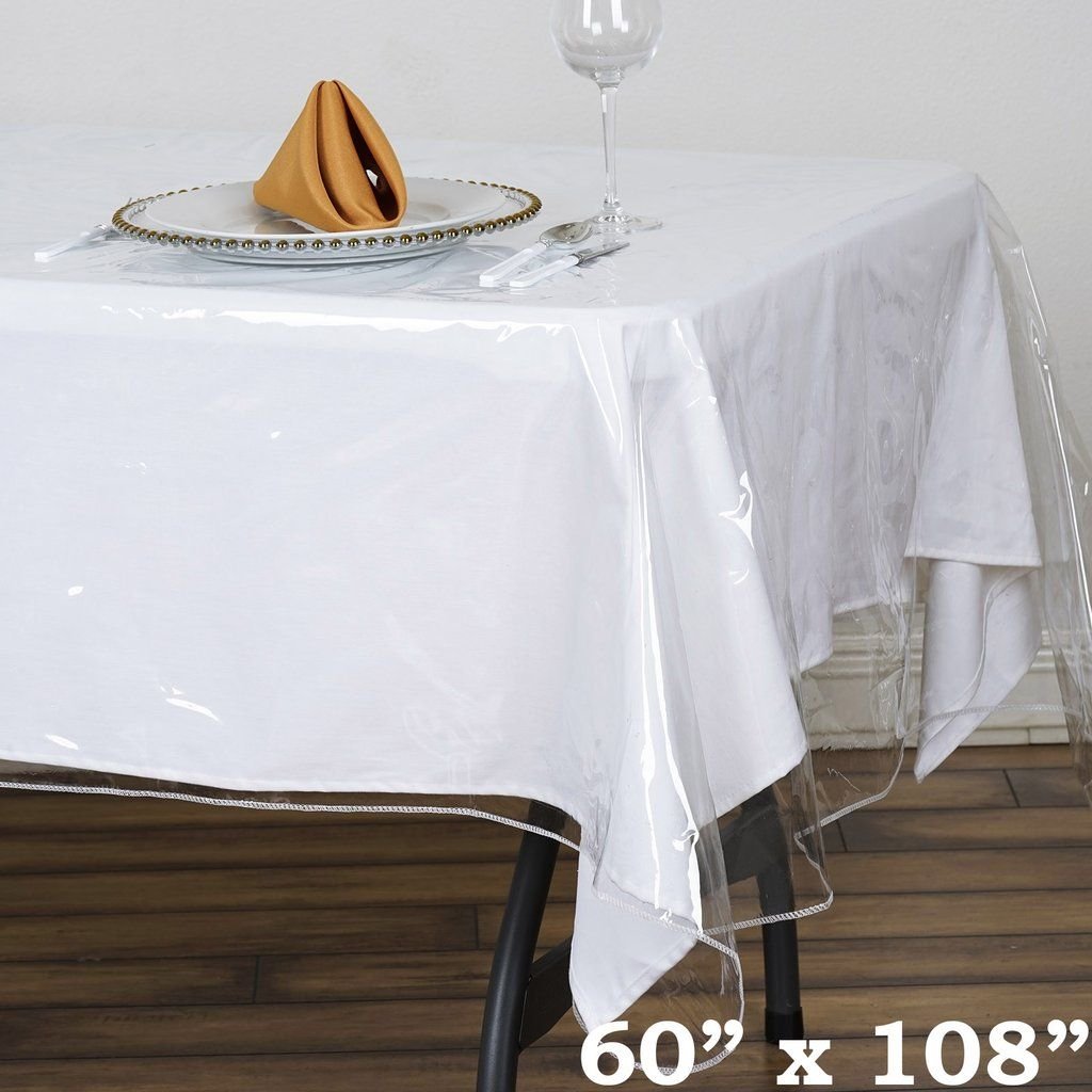60 X 108 Clear 10 Mil Thick Eco Friendly Vinyl Waterproof Tablecloth Pvc Rectangle Disposable Tablecloth Vinyl Tablecloth Waterproof Tablecloth Table Covers